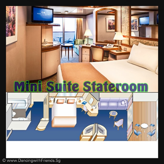 Choose a luxurious Mini-Suite with balcony which is substantially larger than a Balcony stateroom and receive a complimentary welcome glass of Champagne. Mini-Suites include a separate sitting area with sofa bed, premium bathroom amenities and two flat-panel televisions. For families or groups needing a little extra space, Mini-Suites offer an appealing and affordable option.
